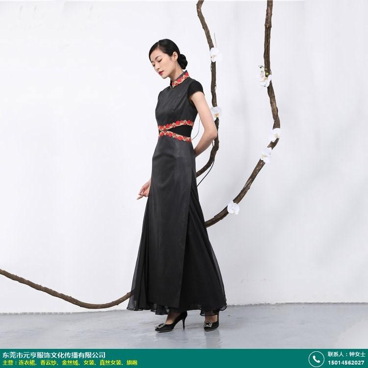缎面香云纱旗袍连衣裙厂家的图片